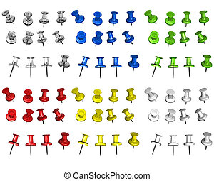 Multicolored isolated pins without shadow