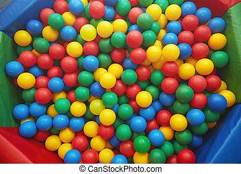 Multicolored plastic balls - Group of many multicolored...