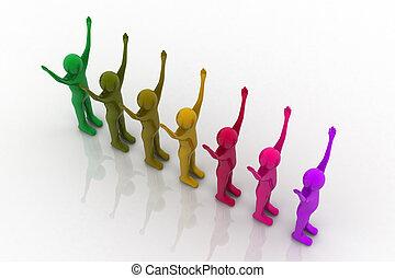 Multicolored plasticine human