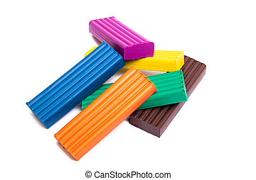 Multicolored plasticine isolated on a white background
