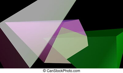 Multicolored polygonal 3d crystal shapes moving on black background, semitransparent objects, fantasy vfx animation, abstract movie