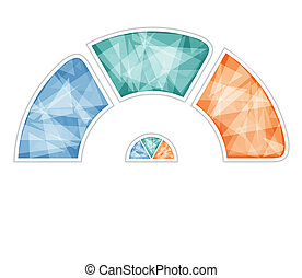 Multicolored polygonal semicircle. Modern Raster template for infographics 3 positions for text area