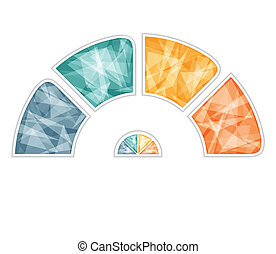 Multicolored polygonal semicircle. Modern Raster template for infographics 4 positions for text area
