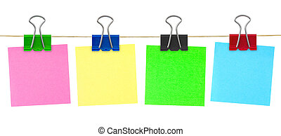 Multicolored post-it note paper isolated on white background