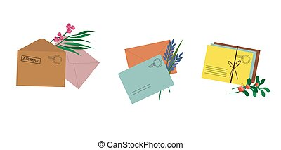 Multicolored postal envelopes set with flowers.