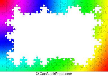 Multicolored puzzle frame