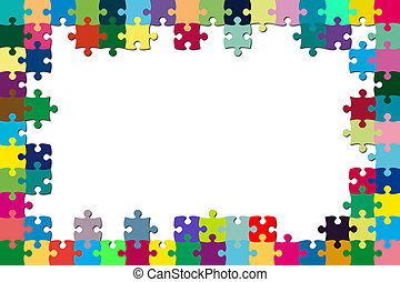 Multicolored puzzle frame - A multicolored puzzle frame with...