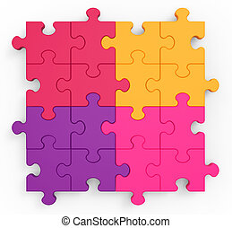 Multicolored Puzzle Square Showing Unity