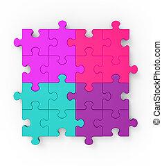 Multicolored Puzzle Square Shows Completion