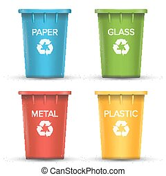 Multicolored Recycling Bins Vector. 3D Realistic. Set Of Red, Green, Blue, Yellow Buckets. For Paper, Glass, Metal, Plastic Sorting. Isolated On White