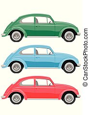 Multicolored retro cars on white background. Vintage car in a realistic style, side view