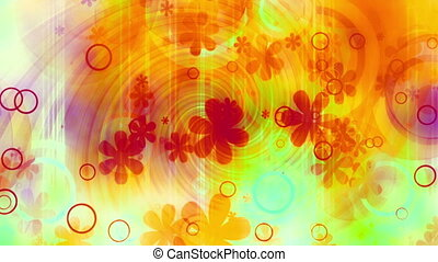 Multicolored retro hippie swirl textured animated CG abstraction background loop