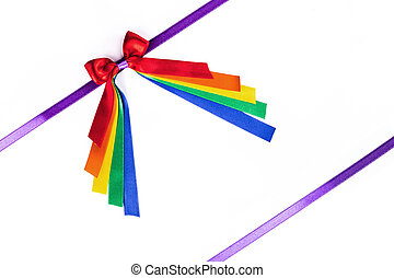 Multicolored ribbon bow on white