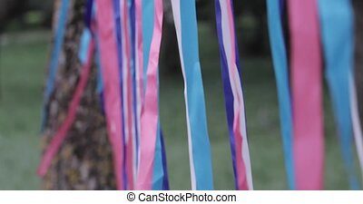 multicolored ribbons in the wind slow motion