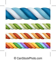 Multicolored ropes, vector design elements
