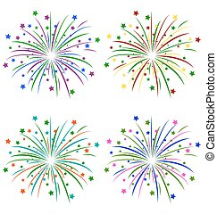 Multicolored salute with stars on white - Multicolored...