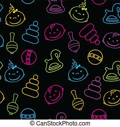 Multicolored seamless pattern with babies faces and toys