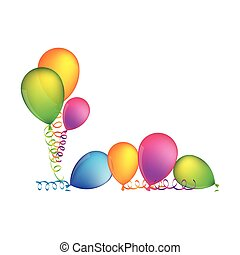 multicolored set flying balloons with serpentine on the floor