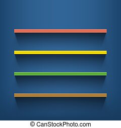 Multicolored shelves on the blue wall.