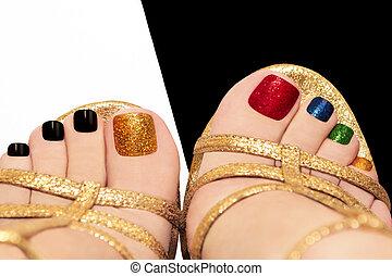 Multicolored shining pedicure. - Multicolored shining ...
