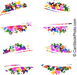 Multicolored silhouettes of butterflies