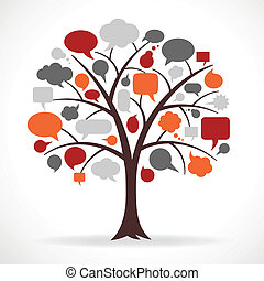 Vector Illustration of a Tree with Multicolored Speech bubbles in place of Leaves