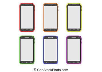 multicolored smartphones isolated on white background