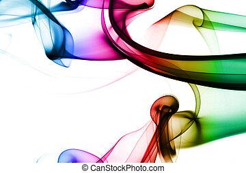 Multicolored smoke in white background
