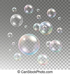 Multicolored soap bubbles on plaid background. Sphere ball, ...