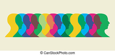 multicolored social interaction - Multiple human heads...