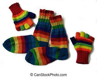 multicolored socks&gloves