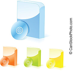 Multicolored rounded software boxes with cd disk