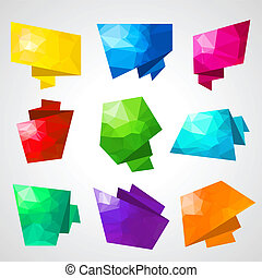 Multicolored speech bubbles with abstract triangular...