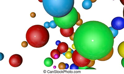 Multicolored spheres falling on white background. Animated. 3d render