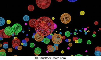 Multicolored spherical frames falling on a black background....