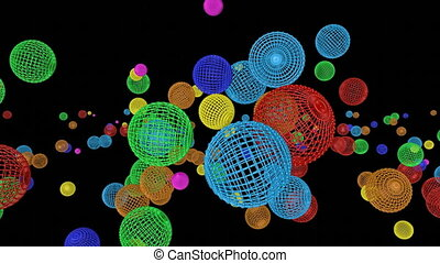 Multicolored spherical frames falling on a black background. Animated. 3d render