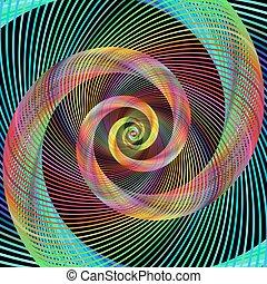 Multicolored spiral fractal design background