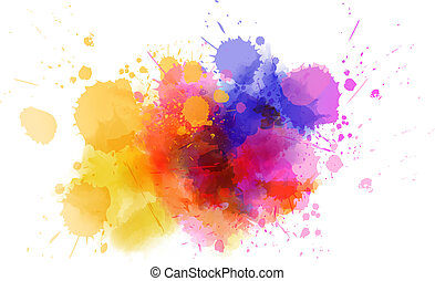 Multicolored splash watercolor blot