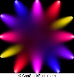 multicolored spotlights