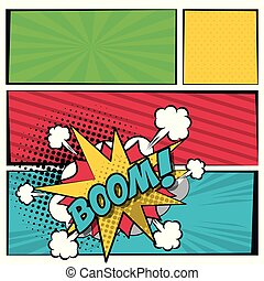 multicolored square banner in pop art style halftone with stripes and scream dialog callout boom text