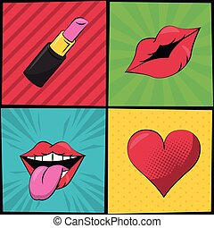 multicolored square banner in pop art style with stripes and dots with lipstick heart and mouth