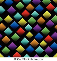 Multicolored squares with gradient on black background. Seamless vector background with 3d effect. Diamond shapes in rainbow colors.