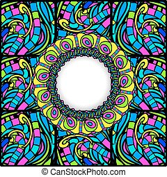 Stained-Glass Abstract Round Frame