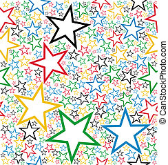 Multicolored stars seamless pattern background. Vector file...