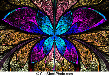 Multicolored symmetrical fractal pattern as flower or butterfly in stained-glass window style. Computer generated graphics.