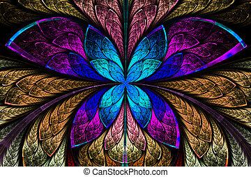 Multicolored symmetrical fractal pattern as flower or ...