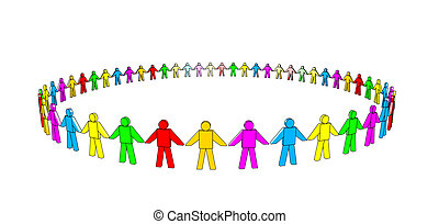 Multicolored Team - multicolored 3d people in a circle.