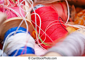 multicolored threads for sewing