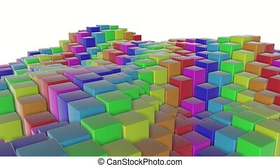 multicolored three-dimensional cubes slowly fly. abstract animation. 3d rendering