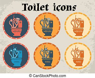 Multicolored toilet icons